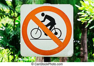 cycling, nee, kleur, geel teken, achtergrond, witte
