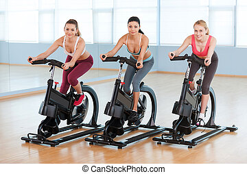 Cycling on exercise bikes. Two attractive young women in sports clothing exercising on gym bicycles