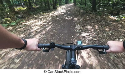 Cycling on forest road in first person