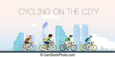Cycling on the city. Flat style.