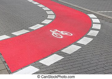 Cycling path in the city in Germany. Bike lane.