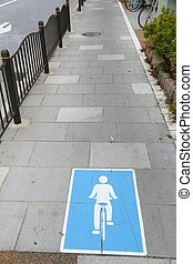 Bicycle path in Tokyo, Japan. Transportation infrastructure.