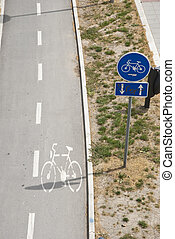 Cycling path with sign