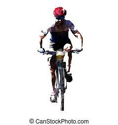 Cycling, polygonal vector mountain biker cyclist on his...
