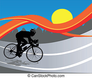 Cycling Poster - Abstract Background with Cyclist Silhouette...