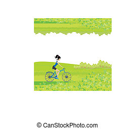 Cycling Poster with silhouette Girl - abstract frame