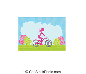 Cycling Poster with silhouette Girl