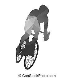 cycling., résumé, route, cyclist.
