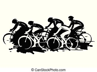 Illustration of cyclists in full speed. Imitation of hand drawing. Isolated on white background. Vector availabl