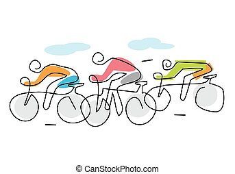 Cycling race line art stylized.