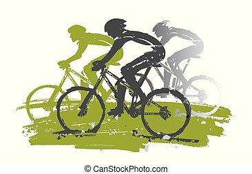 Cycling race, mountain bikers, expressive stylized.