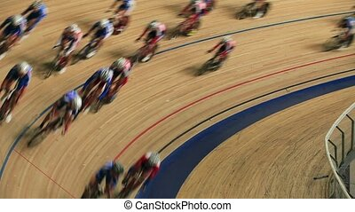 cycling race sharp turn blurred motion sequence