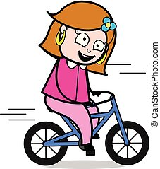 Cycling - Retro Cartoon Female Housewife Mom Vector Illustration