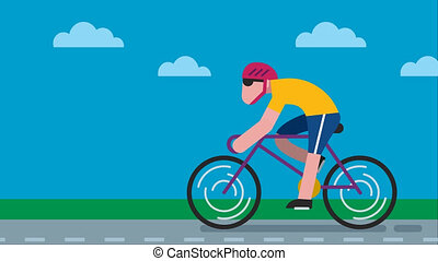 Cycling Road - Animation of flat design character cycling on...