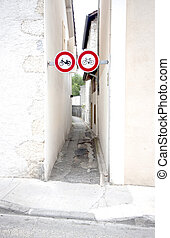 Cycling sign and bycicle part way in France.