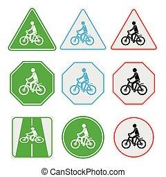 Cycling sign set, illustration vector