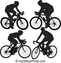 cycling, silhouette