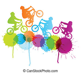 Cycling silhouette vector background concept splashes