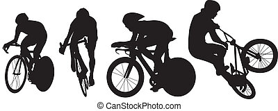 cycling, silhouettes, fiets