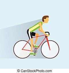 Cycling sport bicycle man, road bike riders flat