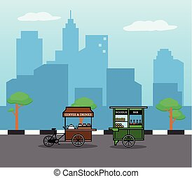 Cycling Street Food Seller In The City