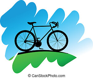 Cycling symbol on white background for design