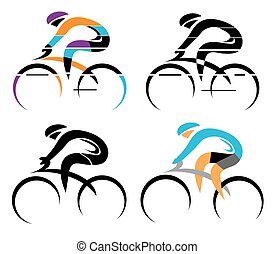 Cycling symbols - Four modern stylized colorful and black...