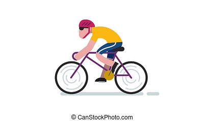 Cycling - Animation of flat design character cycling.