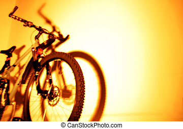 cycling with flash background. Low angle view.