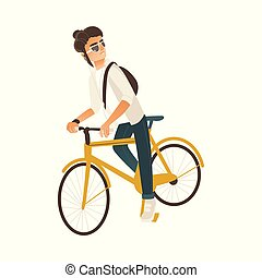 Cycling young man with dark hair isolated on white background.