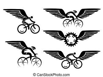 cyclisme, ailes, icônes
