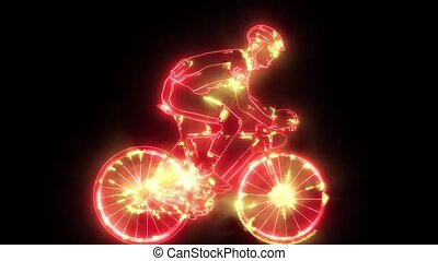 cyclisme, cycliste, silhouette, route, vélo