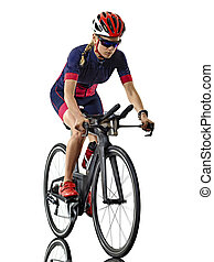 cyclisme, cycliste, triathlon, athlète, fond, isolé, femme, blanc, ironman, triathlete