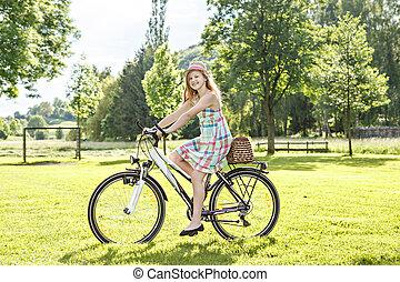 cyclisme, dans, a, parc