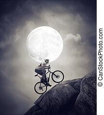 cyclisme, dans, les, clair lune