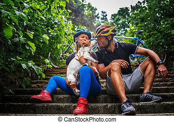 cyclisme, famille, à, leur, dog.