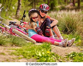 cyclisme, famille, séance, bicycles., vélos, route