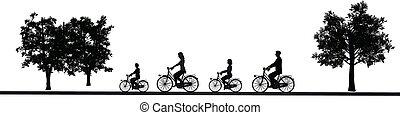 cyclisme, famille, silhouette, isolé, cycliste, fond, blanc