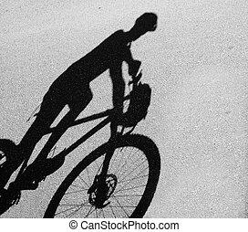 cyclisme, femme, silhouette