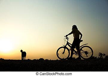 cyclisme femme, wellness, séance entraînement, fitness, silhouette, concept., levers de soleil