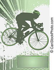 cyclisme, grunge, gabarit, affiche