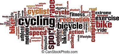 cyclisme, mot, nuage
