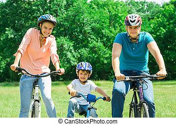 cyclisme, parc, famille, heureux