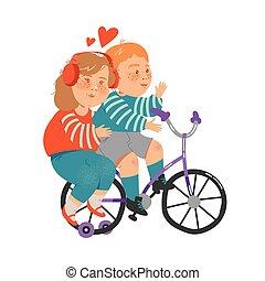 cyclisme, petite fille, vecteur, illustration, écouteurs, ...