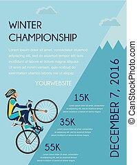 cyclisme, poster., montagne, cycliste, vélo, concurrence, courses