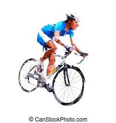 cyclisme, résumé, cycliste, vecteur, icône, silhouette, géométrique, route