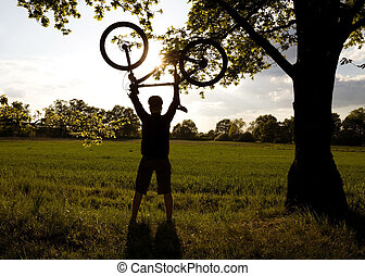 cyclisme, silhouette, reussite