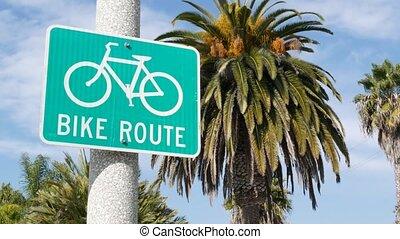 cyclisme, touriste, symbole, vélo, sain, palm., signe, parcours, bikeway, sécurité, cycleway, enseigne, usa., oceanside, singpost., style de vie, vélo, vert, récréation, resort., californie, pacifique, couloir, route