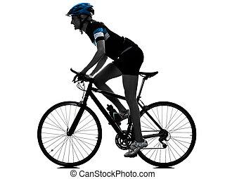 cyclisme, vélo, cycliste, équitation, femme, silhouette, isolé