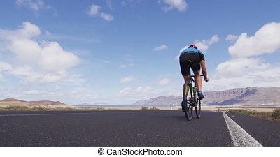 cyclisme, vélo, sports, faire vélo, cycliste, closeup, route, dehors, athlète